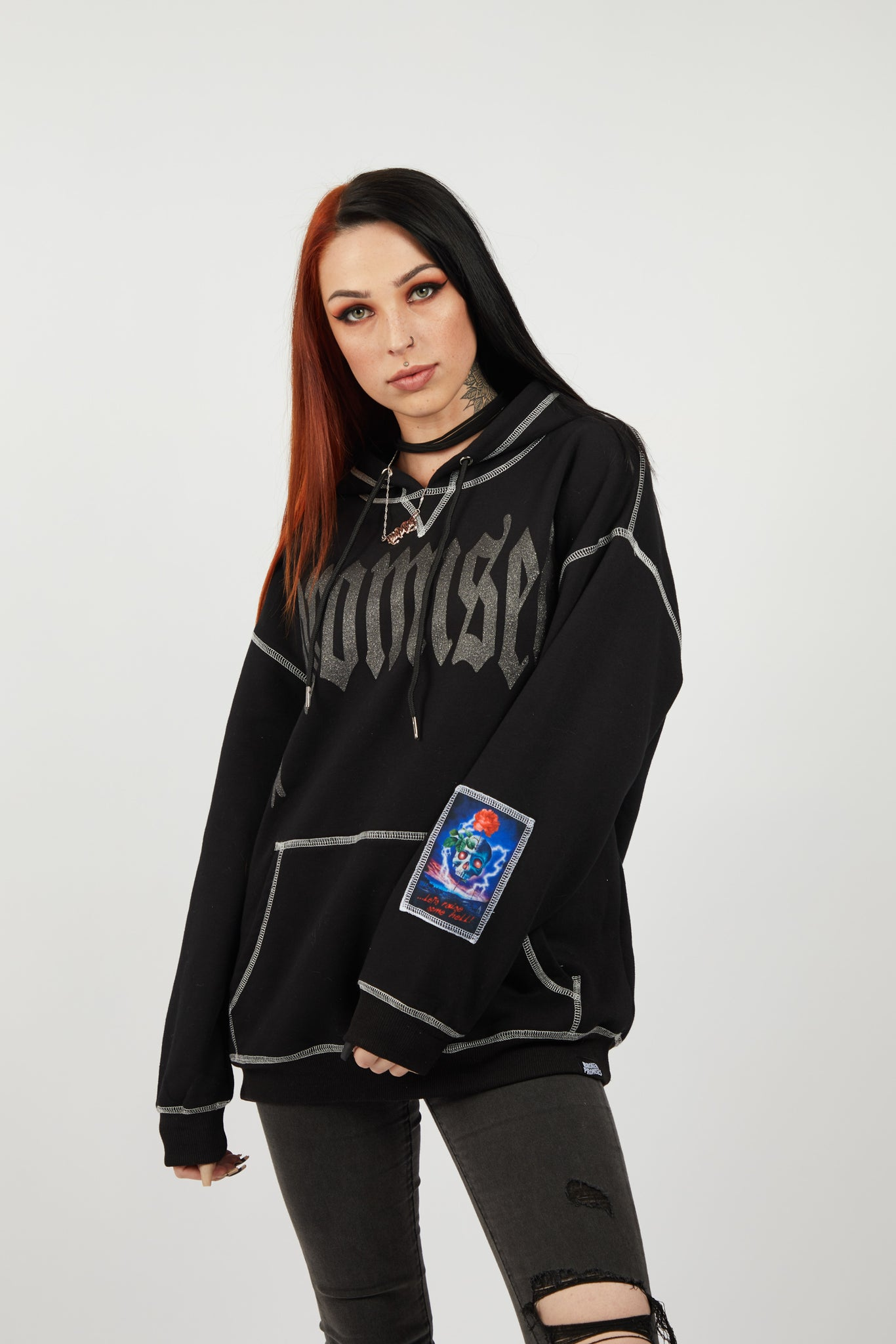 Raise Hell Contrast Stitch Glitter Hoodie with Patch