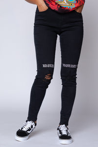 Juniors Stitch & Rip Denim Jeans Black