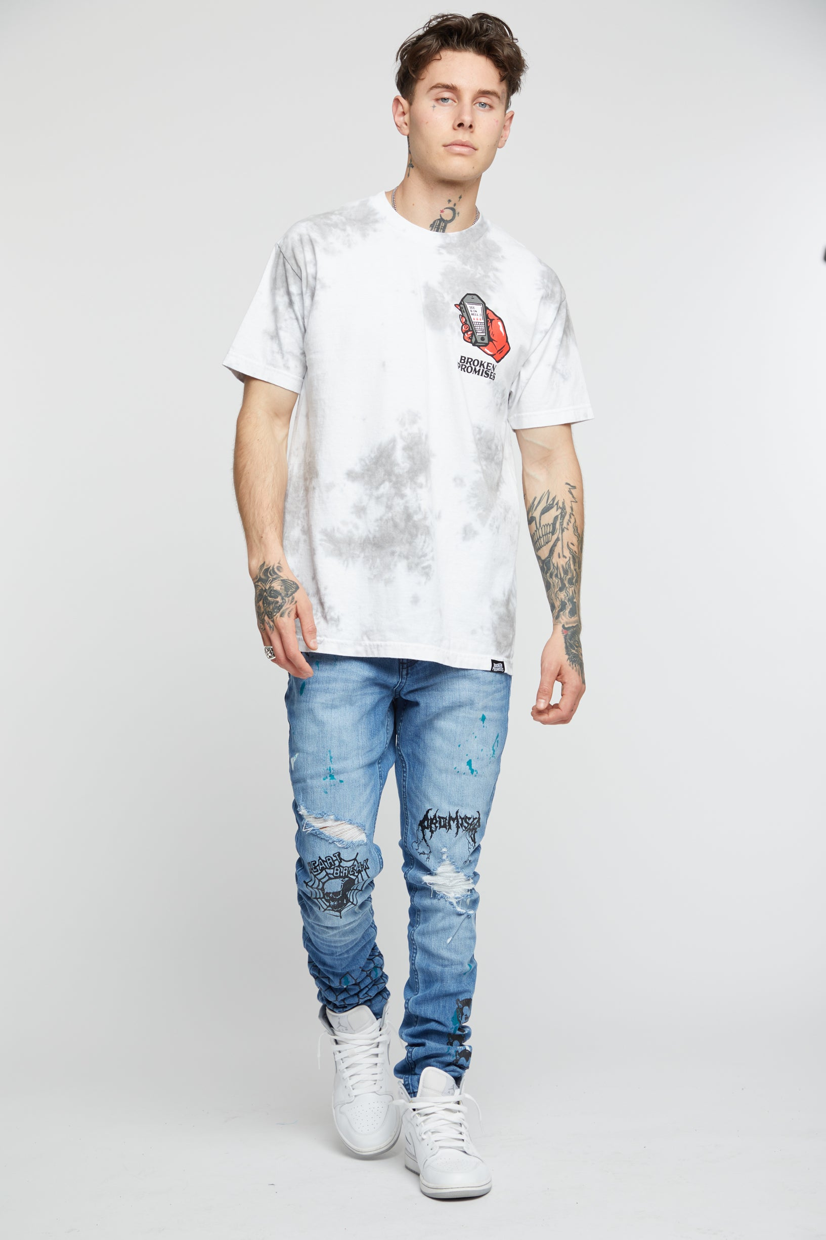 Lucky Lucifer Tie Dye Tee Wh/Gr