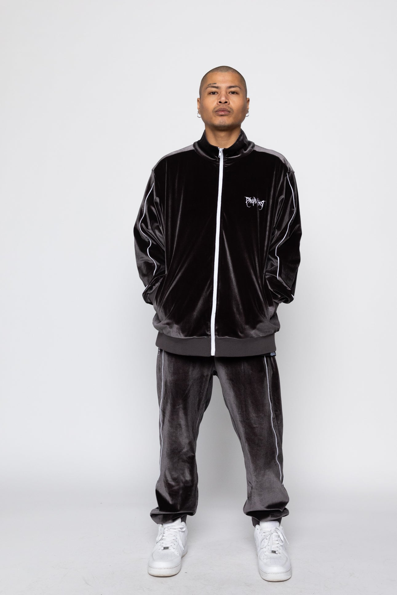 Graveyard Velour Track Pants - Charcoal