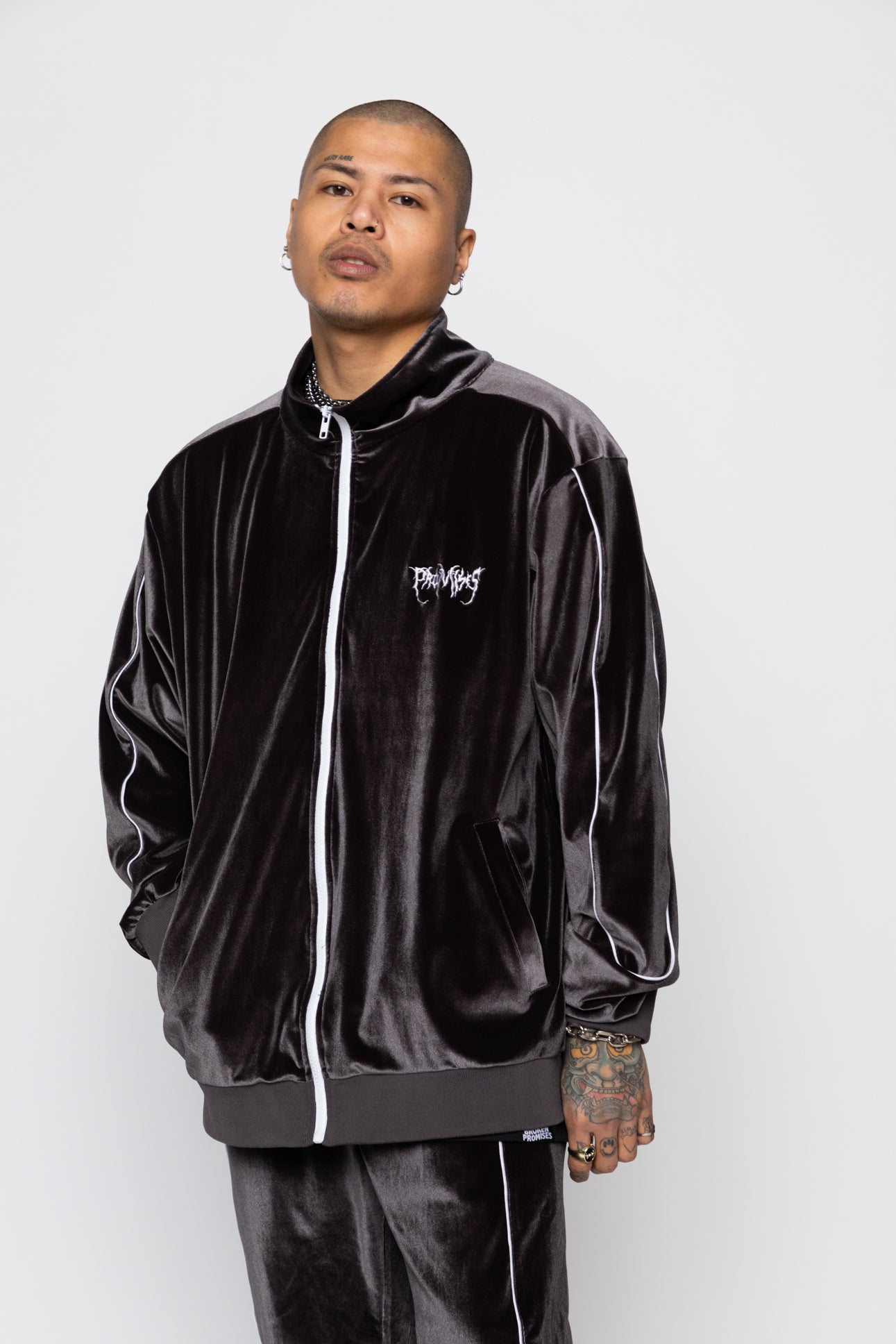 Graveyard Velour Track Jacket - Charcoal
