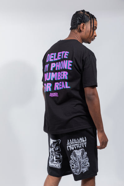 Delete My Number Tee Black