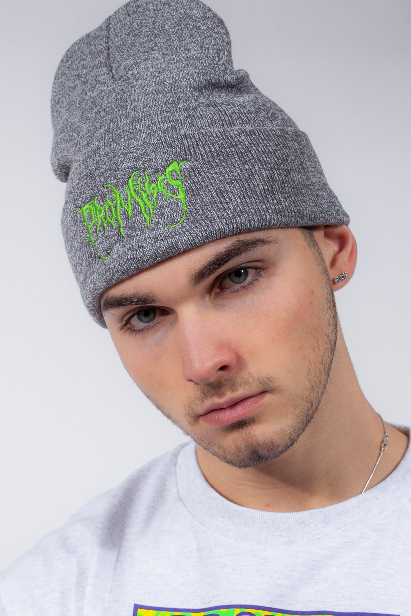 Graveyard Beanie Heather / Neon Green