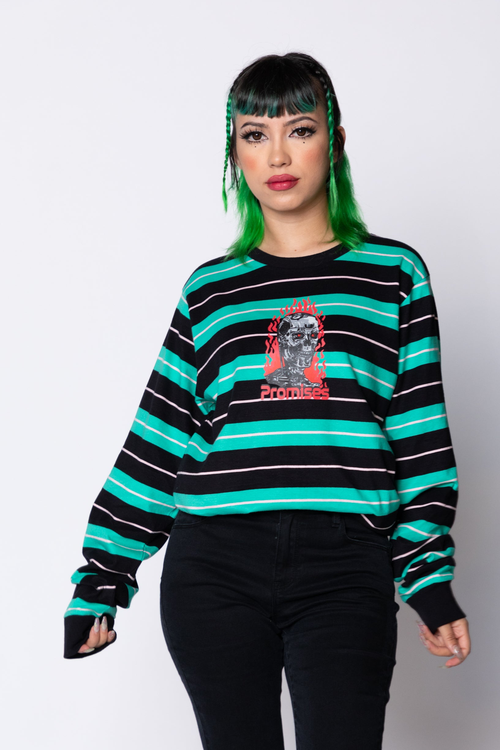 Automated Stripe L/S Teal