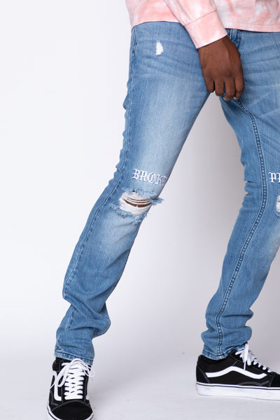Stitch and Rip Denim - Medium Blue