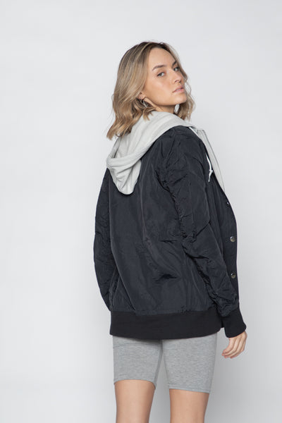 Wave Logo Layered Bomber Jacket