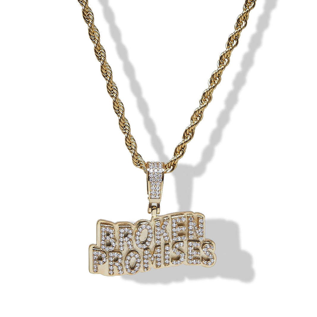 BP x Saint Midas Mini Iced Wave Logo Pendant Yellow Gold
