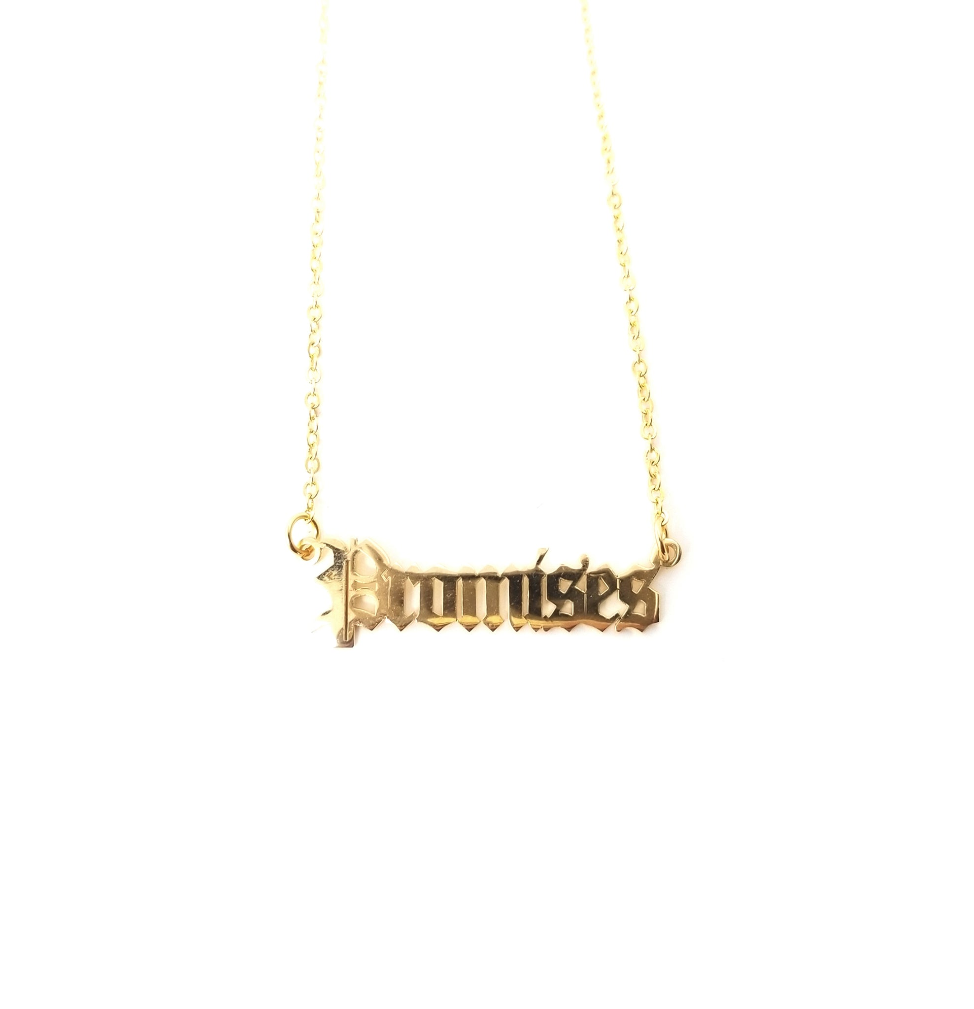 Promises Nameplate Necklace Gold