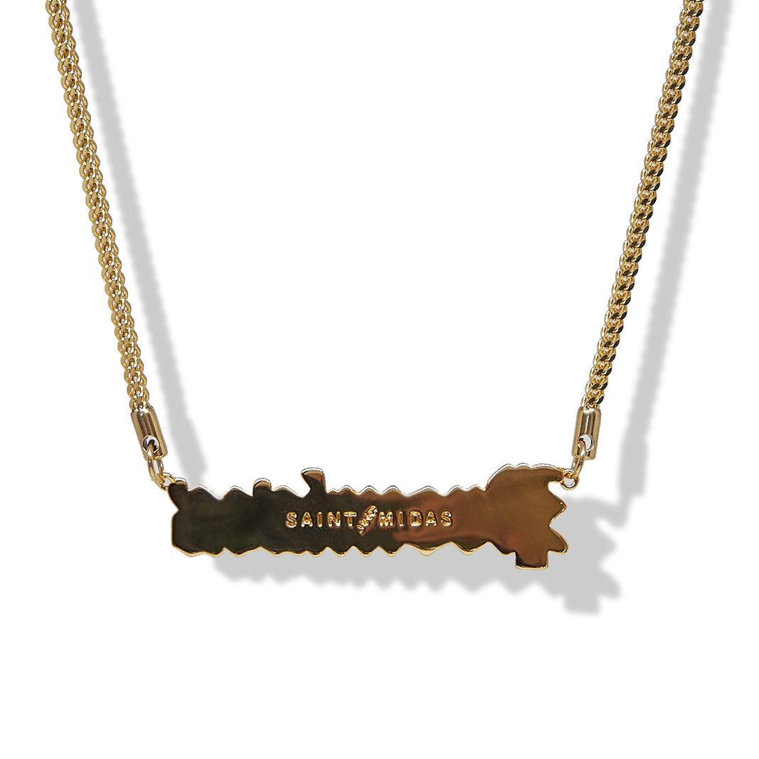 BP x Saint Midas Iced Slogan Pendant Yellow Gold