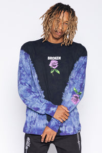 Thornless V-Tie Dye L/S Black