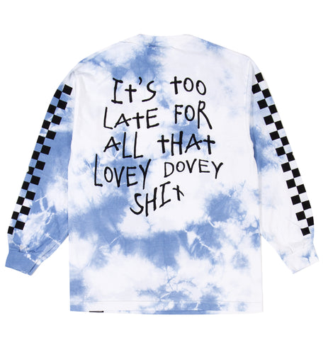 Too Late Tie Dye L/S Tee Light Blue