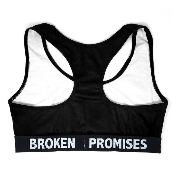 Broken Promises X Chonies Sports Bra Black