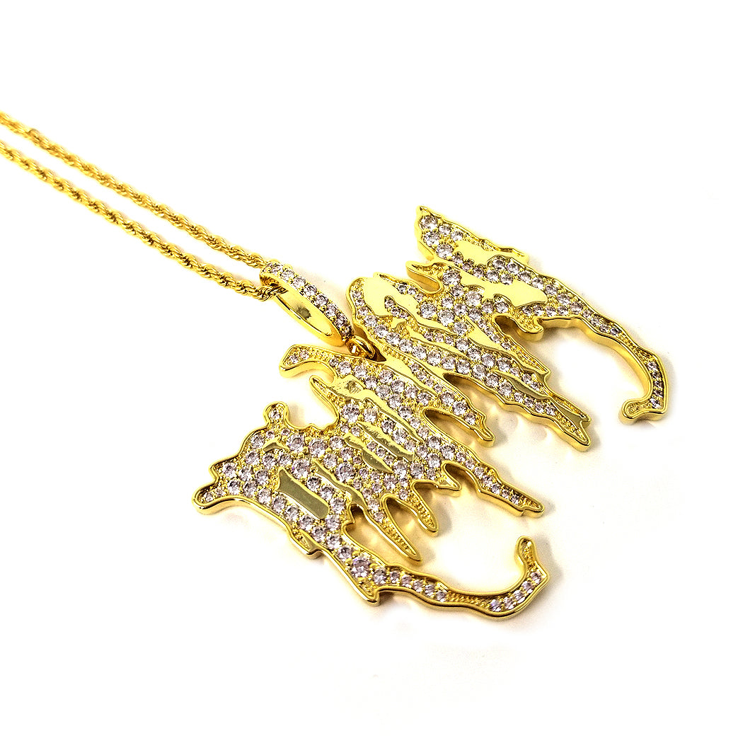 BP x Saint Midas Iced Graveyard Pendant Necklace Yellow Gold