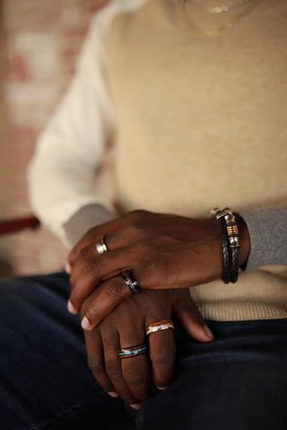 Man Hands With Tungsten Rings