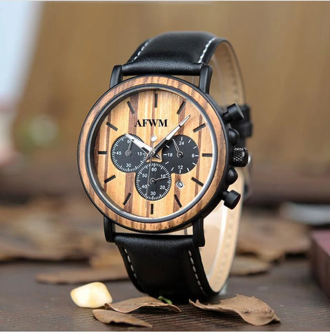 men's leather band watch