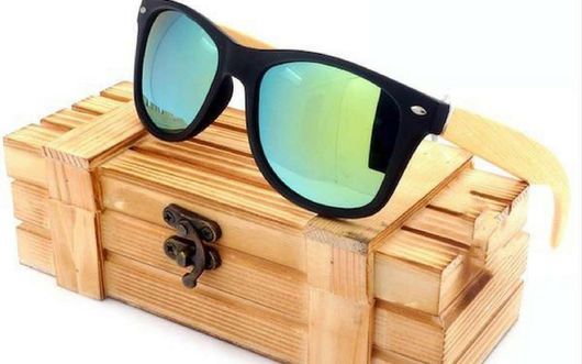 A Few Wood Men's High Quality Vintage Black Square Sunglasses With Bamboo Legs - A Few Wood Men