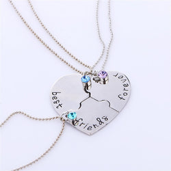 Best Friends Forever Heart Puzzle Piece Necklace Set