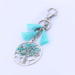 Tree Of Life Natural Stone Boho Tassel keychain Handmade