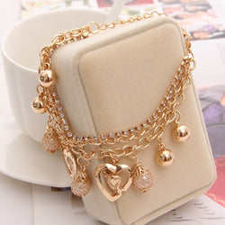 Multilayer heart bracelet