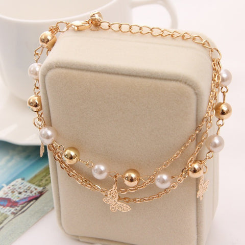 Bohemian Gold Plated Chain Multilayer  Charm Bracelet