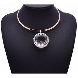 Luxury Pendant Jewelry Glass Crystal Gem Necklace