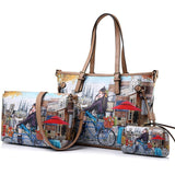 Women Tote Bag  3 Pieces Set Vintage Printed