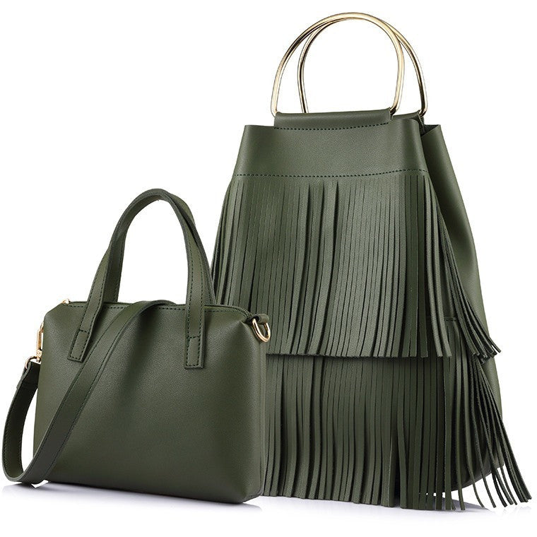 New design fashion women large handbag with tassel