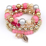 Set Fashion Multilayer Crystal Beads Leaves  Bangles