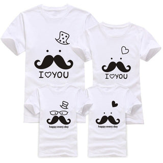 Family matching clothes Moustache I love you