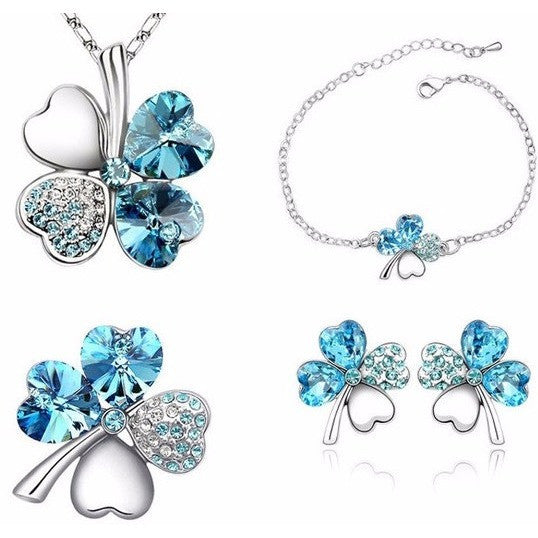 Clover Crystal Swarovsky and Rhodium Jewelry Set