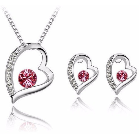 Mother's Day  gift! Crystal Heart Necklace Set