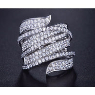 Rhodium and Cubic Zirconia Crystals Ring
