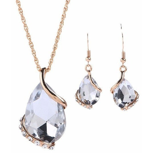 Crystal Rhinestones Jewelry Necklace earring set