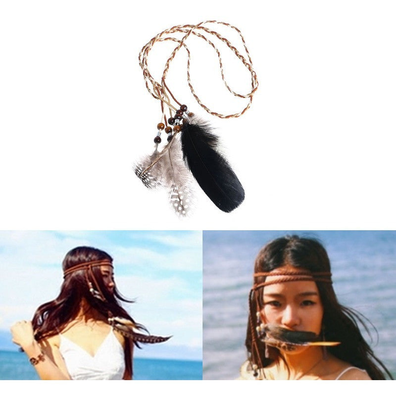Feather Headband Hippie Boho