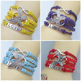 Leather vivid butterflies LOVE Friendship Charm Bracelet
