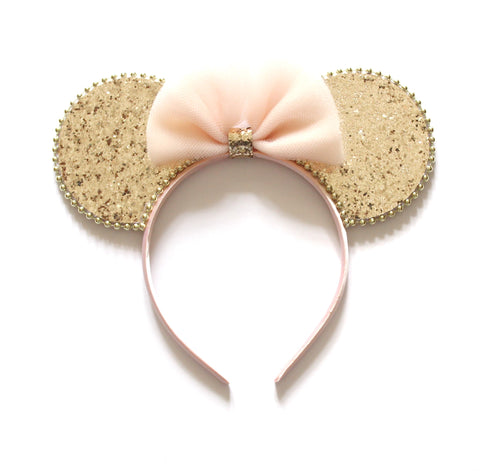 Minnie Mouse Ears Headband Reversible Blush & Gold