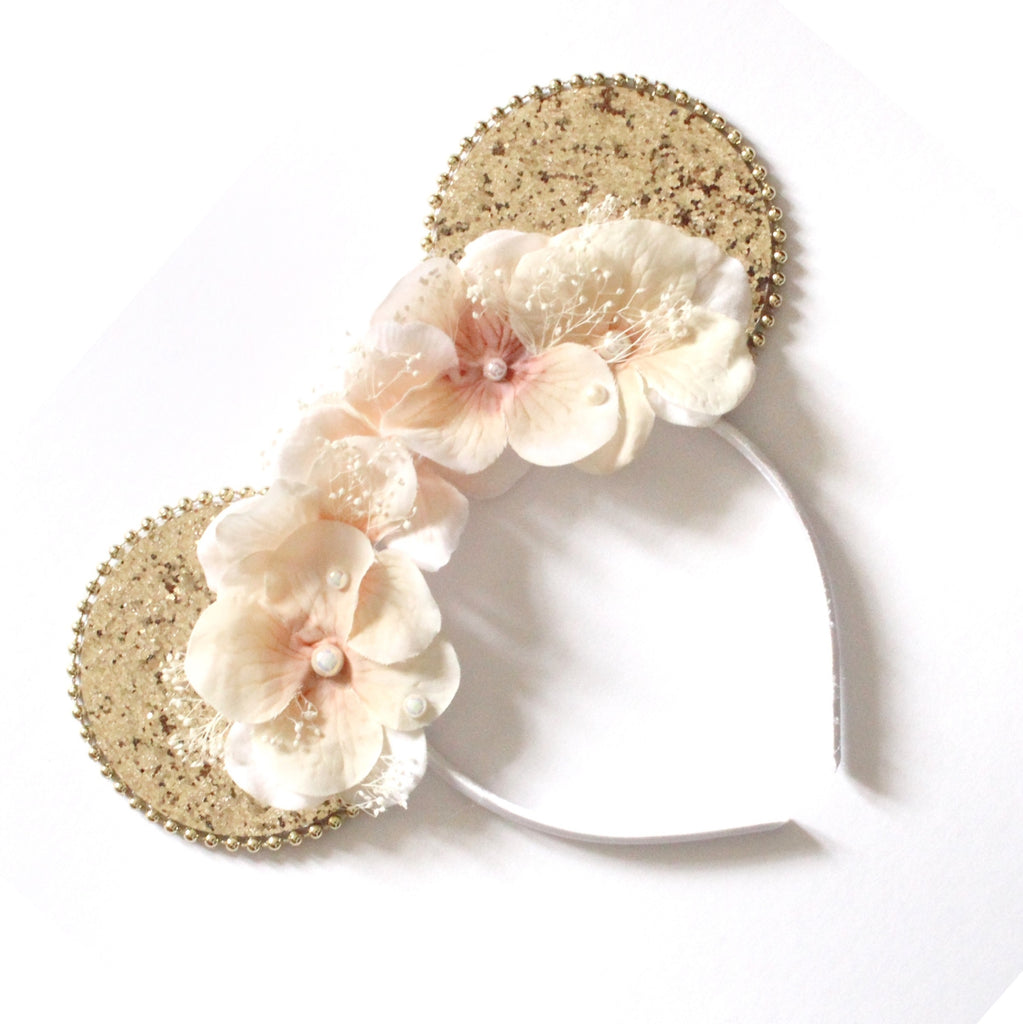 Minnie Mouse Ears Headband - Floral Gold