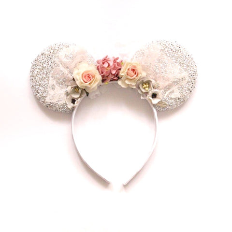 Minnie Mouse Ears Headband Reversible Diamante White & Pink Floral