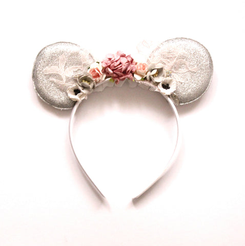Minnie Mouse Ears Headband Reversible Turquoise & Silver