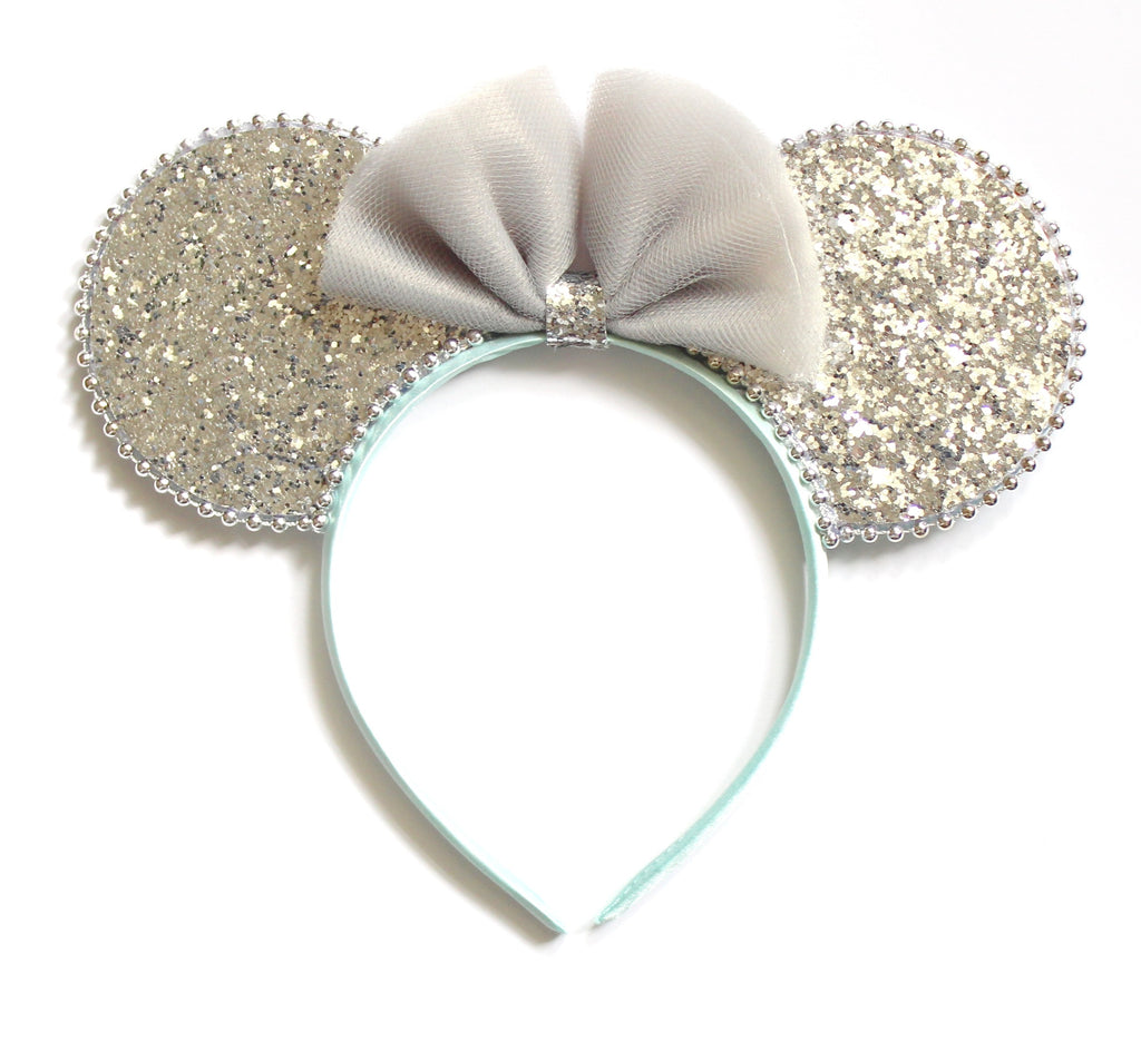 Minnie Mouse Ears Headband Reversible Silver & Turquoise