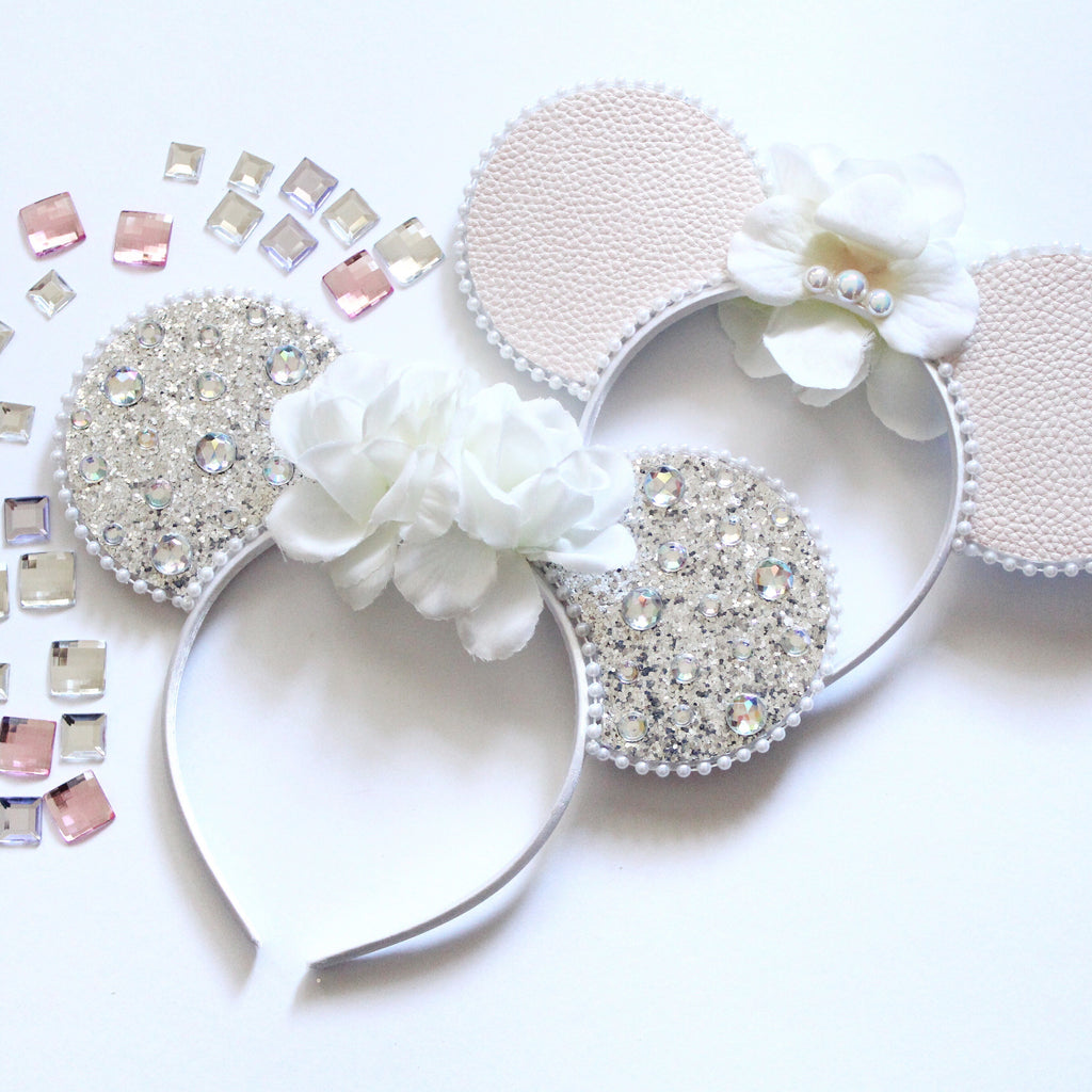 Minnie Mouse Ears Headband Reversible White Floral & Diamante