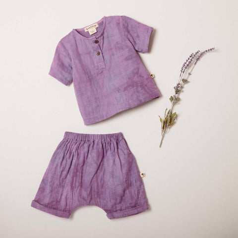 Short Sleeve Henley and Frankie Short in Lilac