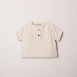 Short Sleeve Henley in Cream