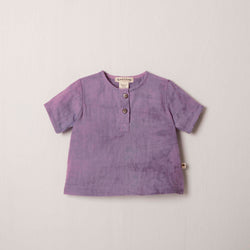 Short Sleeve Henley in Lilac