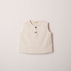 Sleeveless Henley in Cream