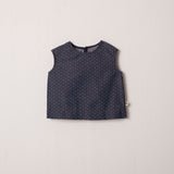 Violet Sleeveless Shift Top in Denim Dot