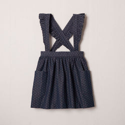 Elsie Ruffle Suspender Skirt in Denim Dot
