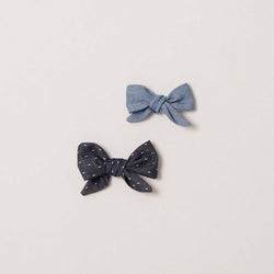 Hand Tied Bows in Chambray