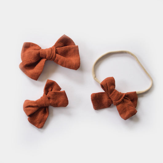 Hand Tied Linen Bows in Brick
