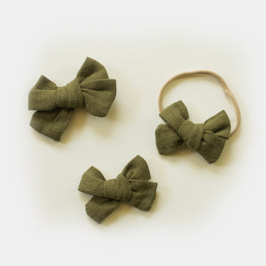 Hand Tied Linen Bows in Olive